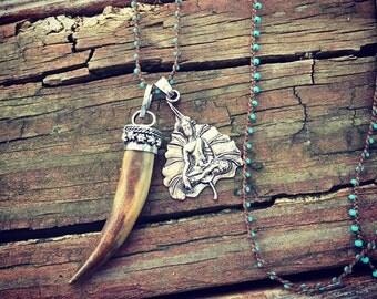 Tibetan Horn and Buddha Necklace