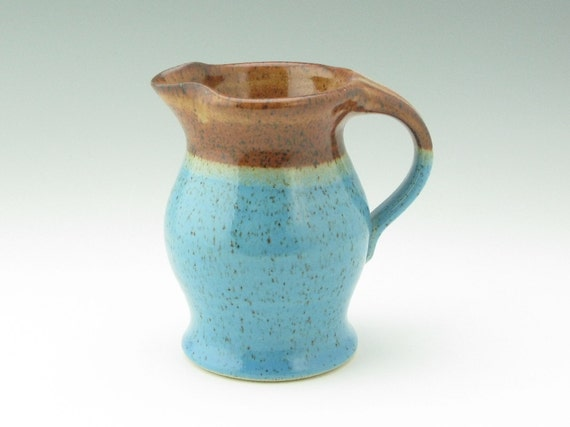 Handmade Pottery Pitcher, 24 oz Stoneware Water Jar in Honey Brown and Light Blue, Ready to Ship Decorative Kitchen Wooden Spoon Pitcher