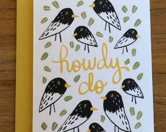 Howdy Do Graphic Bird Illustrated A6 Greeting Card