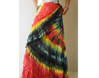Colurful Tie Dye Cotton Long Ruffle Boho Hippie Summer Casual Wrap Skirt S-L (TD 49)