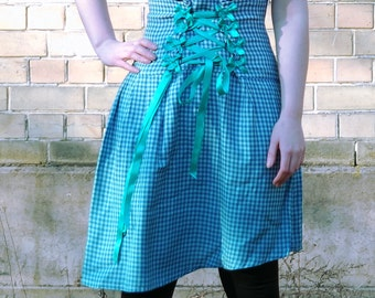 Blue gingham skirt, blue skirt, high waist corset skirt with lace up bow and D rings detail, blue ombre skirt, asymmetrical skirt MASQ