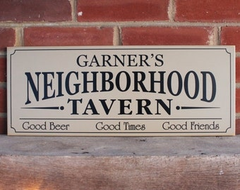 Custom Name Tavern Personalized Wood Sign Wall Decor, Gift for Men, Groomsmen Gift