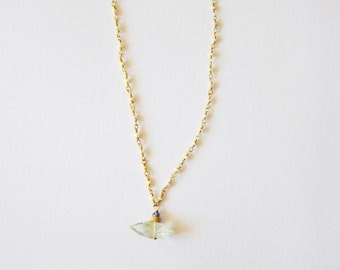 Simple Modern Faceted Green Amethyst Pendant and Freshwater Pearl 14k Gold Filled Necklace with Tanzanite Gemstones