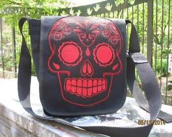 Sugar Skull Black Canvas Courier Bag, Black Canvas Messenger Book Bag, Canvas Shoulder Bag, Daybag