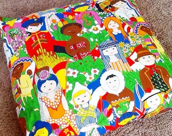 Vintage mid century modern small world children world cultures child room curtain panel set of two mural tapestry