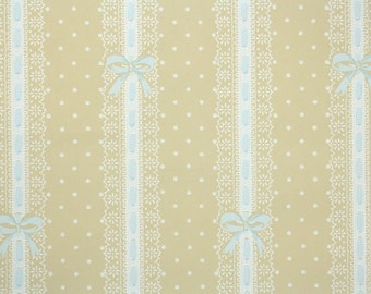1930's Vintage Wallpaper - Yellow Nursery Paper with White and Blue Ribbon Bows