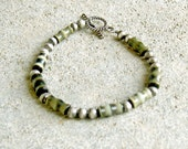 Multicolor Green and Silver Beaded Bracelet