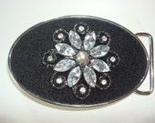 Womens Belt Buckle -Rhinestone Flower