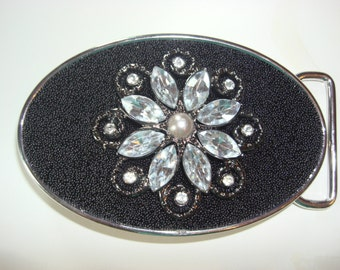 Womens Belt Buckle -Rhinestone Flower