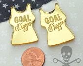 GOAL DIGGER - Gold Mirror Cabs - Cabochons - flat back - Laser Cut Acrylic