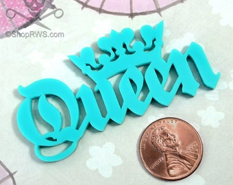 QUEEN CABOCHON- In TURQUOISE Laser Cut Acrylic