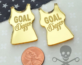 GOAL DIGGER - Gold Mirror Cabs - Cabochons - flat back - Laser Cut Acrylic