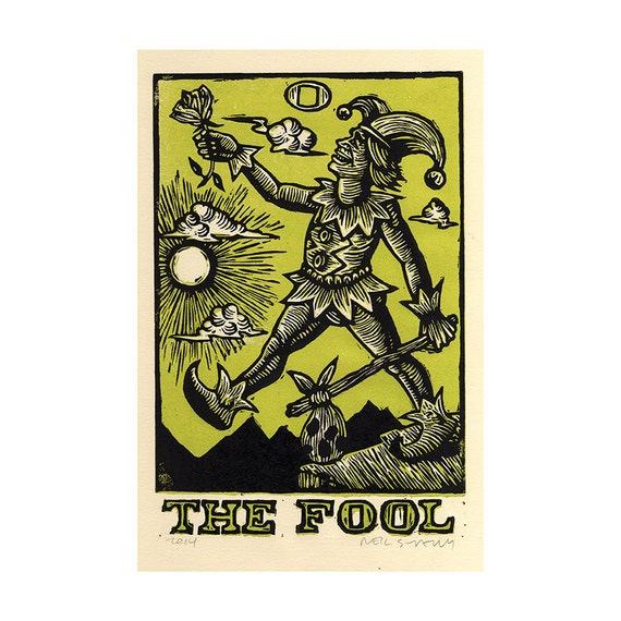 The fool tarot card block art print wall decor by horseandhare for Decorative tarot cards