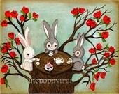 Tea Party Print---Rabbit Cupcake Friends Poppy Art---Tea At The Poppy Tree 5 x 7