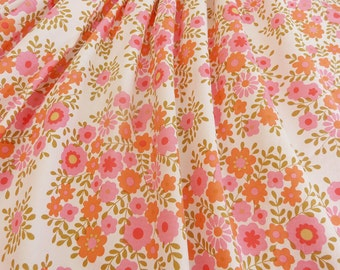 2 Yards Sweet Pink and Orange Floral On With Lightweight Cotton For Apparel Or Quilting