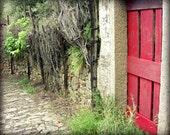 "Italy Travel Photography - Cobblestone Street - Italy Art Print - Red Wall Art - Red Gray Wall Art  ""Red Garden Door"""