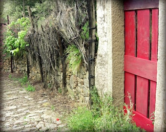 Italy Travel Photography Cobblestone Street Red Gray Wall Art 'Red Garden Door'