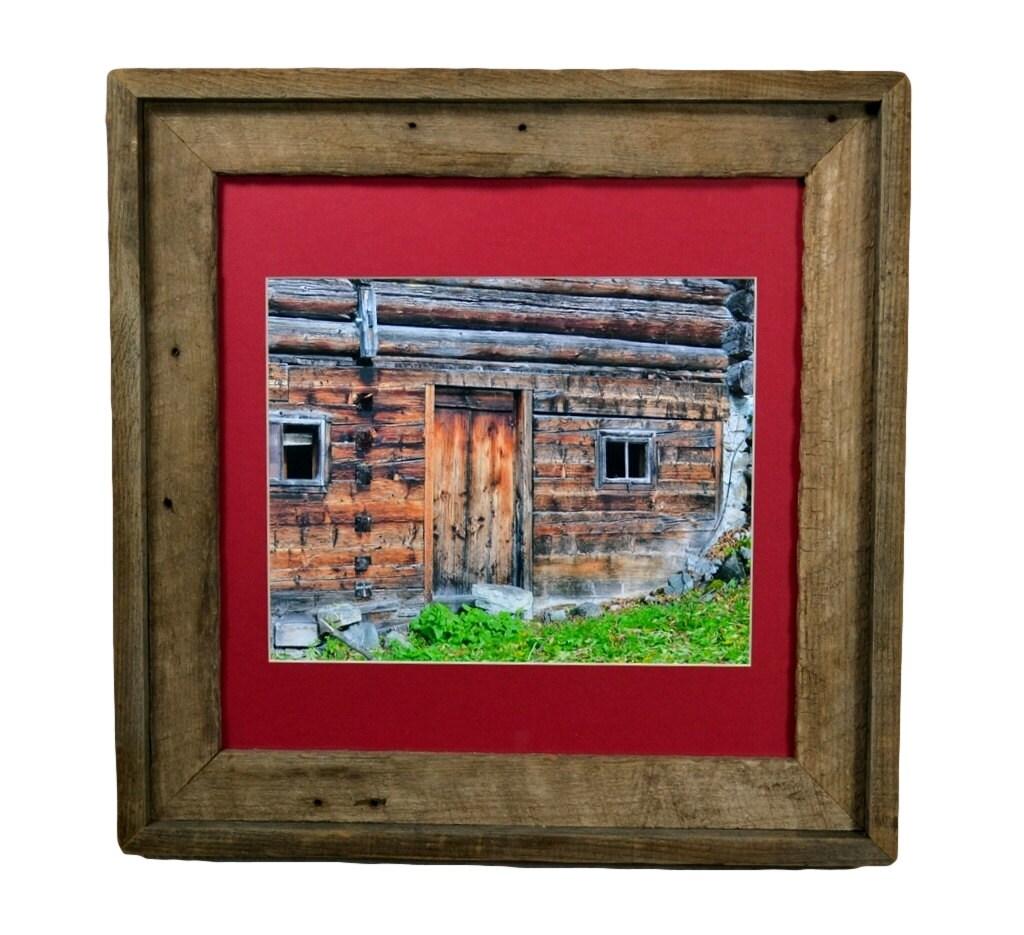 country cabin print framed in 12x12 reclaimed wood by barnwood4u. Black Bedroom Furniture Sets. Home Design Ideas