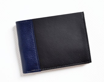 Mens Black Leather Wallet, Gift for Him, Bifold Wallet, Slim Mens Wallet, Minimalist Wallet for Men - The Frankie Wallet in Black