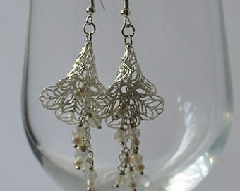 Filigree Crystal & Pearl Earrings