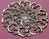 10 pcs of antiqued brass filigree focal 58mm, bendable filigree connector