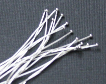 100 pcs of Silver plated brass Ball end head pin - 22 gauge- 1.75 inch