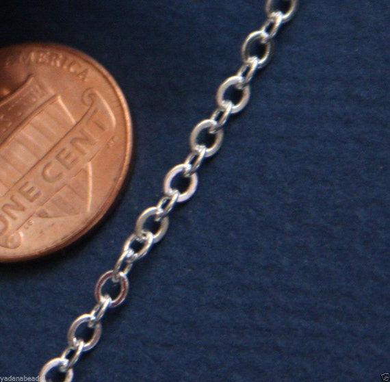 10 ft of Silver Plated Flat Cable Chain 3X3mm - Soldered
