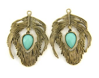 Antique Gold Feather Earring Findings with Turquoise Aqua Faceted Inverted Teardrop Dangle Boho Gypsy Pendant Jewelry Supply |B7-14|2