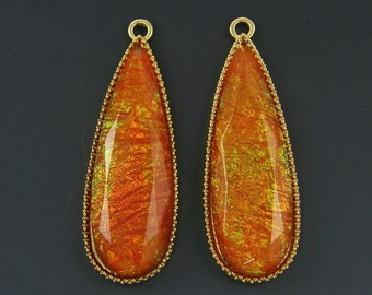 Long Rust Teardrop Earring Finding Gold Bezel Large Drop Pendant |R1-13|2