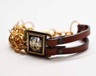 Jewelers brass congac leather and Swarovski crystal honeybee hybrid chainmaille cuff bracelet
