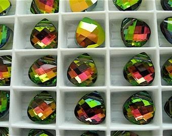 4 Vitrail Medium Swarovski Crystal Pendants Briolette 6012 11mm