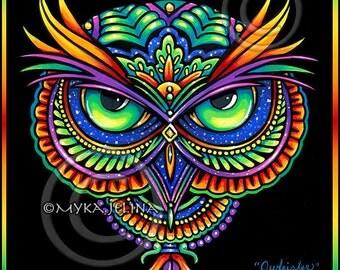 Psychedelic Rainbow Owl Trippy Hippie Owleister BIG Prints
