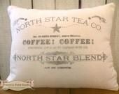 Farmhouse Coffee stained Tea drinkers feed sack  flour sack pillow Prairie Prim charm ECS RDT