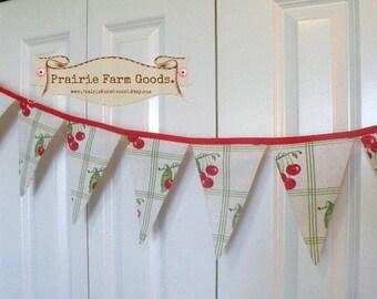 Retro Cottage Cherry Banner Prairie Farmhouse Cherries pennant cottage decor ECS,svfteam RDT FVGteam