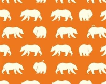 Bear Hike Orange Organic Cotton Fabric Bear Camp, Orange Bear Fabric