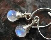 Moonstone Earrings, Smooth Moonstone, Rainbow Moonstones, Sterling Silver, Gemstone Earrings, Smooth Moonstone Earrings