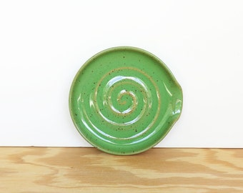 Spoon Rest Stoneware Ceramic in Bright Spring Green Glaze