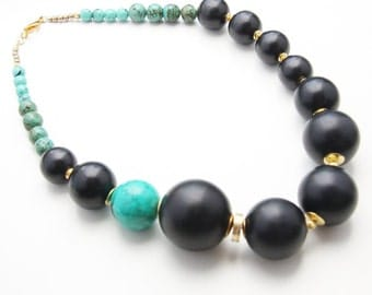 Asymmetrical Round Black Wood and Turquoise Beaded Necklace (N100)