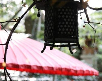 Zen Thoughts - Japanese Lantern (red paper umbrella zen backlit photo print, peaceful Asian culture onsen Japan travel photography wall art)
