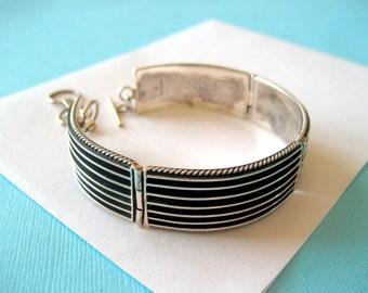 Navajo Johnson Yazzie Sterling Silver Ribbed Overlay Bracelet