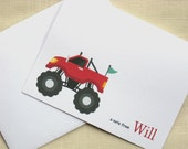 Red Monster Truck Note Cards - Set of 8 - Personalized Boy Cards
