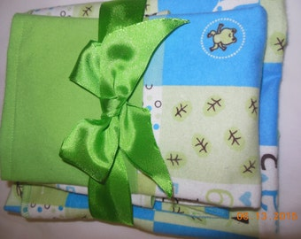 Flannel Receiving Blanket, Bib and Burp Cloth Gift Set