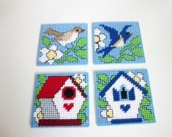Birds and Birdhouses Beverage Coasters - Birdhouse Drink Coasters - Bird Design Mug Rugs - Backyard Birdhouses & Birds Coasters