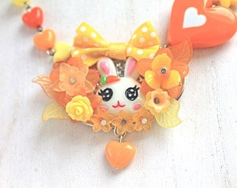 Kawaii Bunny Necklace with Bow orange yellow fairy kei lolita