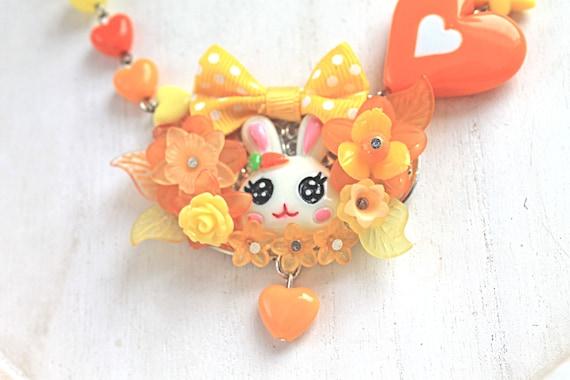 Kawaii Bunny Necklace with Bow orange yellow fairy kei lolita