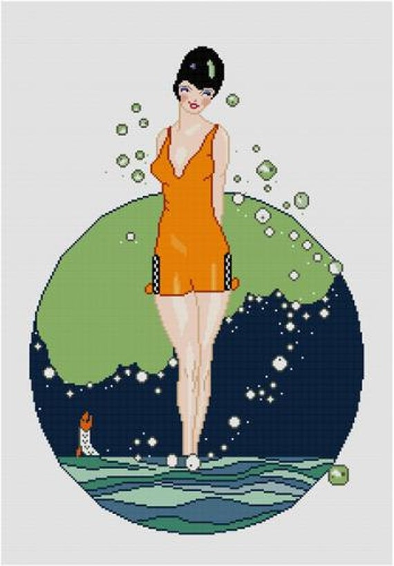 orange maillot de bain beaut nageur pin up croix broderie pdf. Black Bedroom Furniture Sets. Home Design Ideas