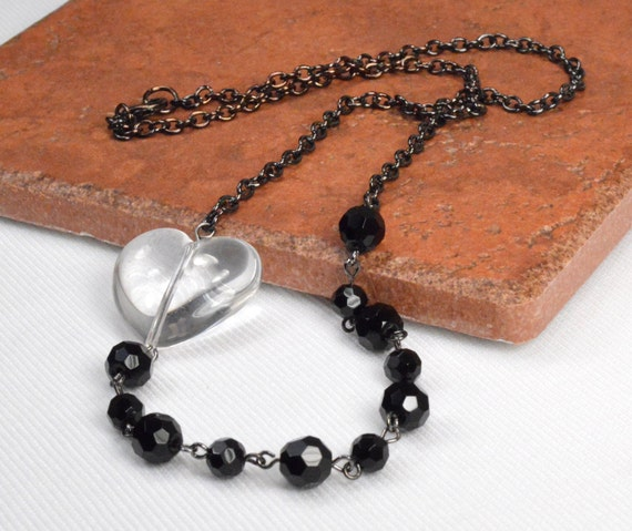 Black Bead Necklace, Black Crystal Necklace, Jet Crystal Sparkle, Crystal Heart Necklace, Black Crystal Necklace, Gunmetal Necklace (1138)