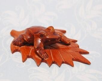 Vintage Hand Carved Wood Frog on a Leaf 1930s Folk Art