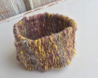 Woven Bracelet // fiber art yarn cuff