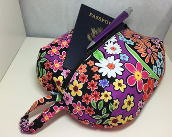 Black and Multi Colored Floral Zippered Ditty Bag - Large